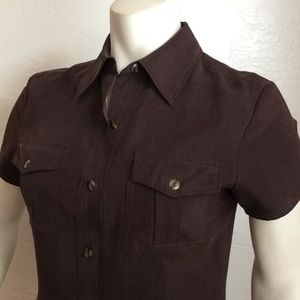 Ann Taylor silk safari style button down mini